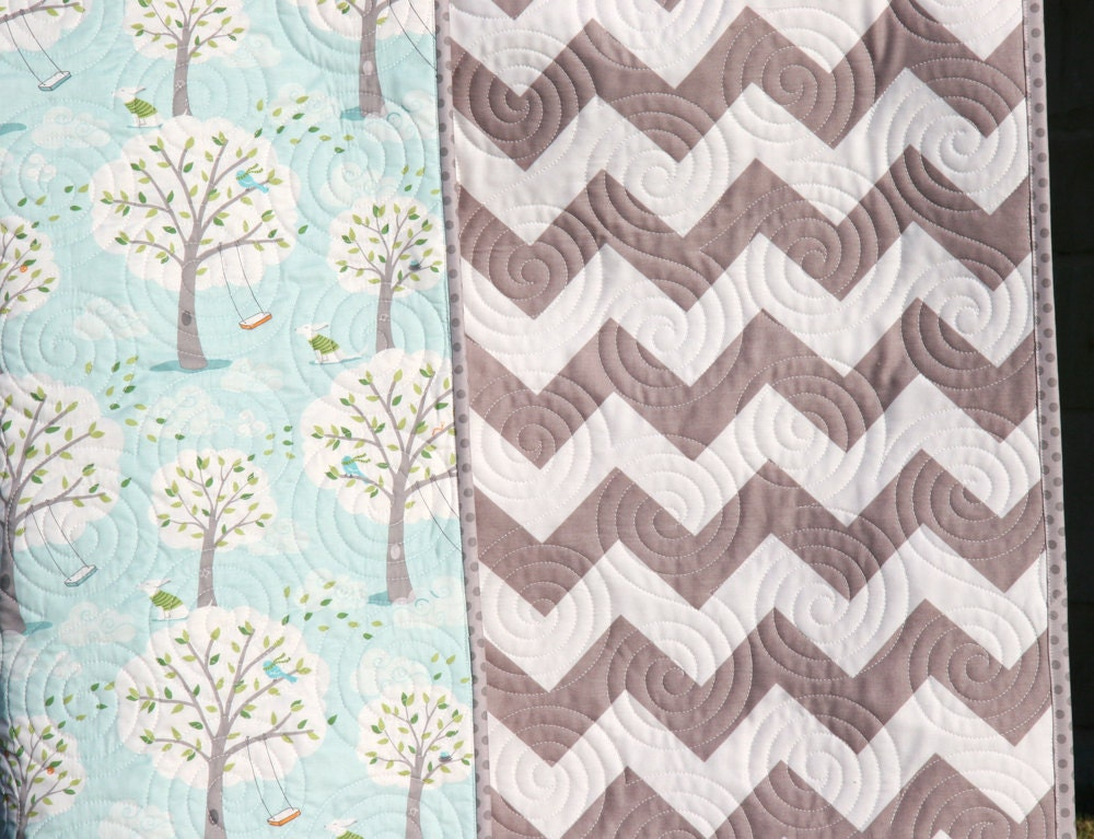 SALE Chevron Baby Quilt Stroller Blanket Trees Backyard : baby boy quilts for sale - Adamdwight.com