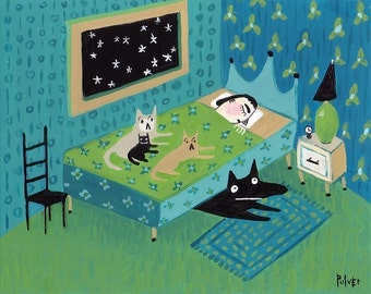 Up All  Night . ACEO Art Trading Card Print with Cats, Dog on Bed