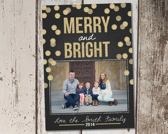 Christmas Photo Card - Gold Confetti Dots - Bokeh - chalkboard - Print Yourself