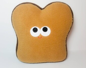 Toast - Plush Food - Plush Toast - Play Food - Plush Bread - Stuffed Toy - Anthropomorphic - Brown Bread - Rye Bread - Plushie