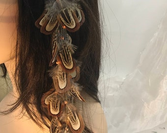 Dangling Natural Feather Hair Clip, Feather Hair Extension, Long Tribal Hair Accessory, Festival Wear, Hair Clip, Feather Hair Clip