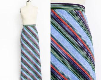 Vintage 1970s Maxi Skirt - Knit Striped Colorful  Full Length Boho - Medium