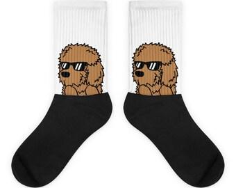 Sunglasses Goldendoodle Socks, Cute Goldendoodle Gift, Funny Doodle Dog Socks