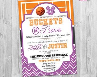 Basketball Gender Reveal Invitation, Basketballs or Bows Gender Reveal Invite, Basketball Gender Reveal Party Invitation, Printable
