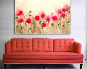 Art Print - Field of Poppies - Floral Art Wildflowers - Watercolor Painting