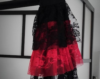 Gothic red and Black Lace jabot