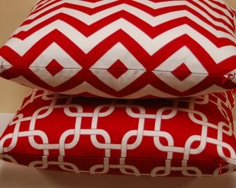 16 inch Red White Chevron Print Throw Pillow Cover, Modern Bright Sofa Pillow, Invisible Zipper Closure