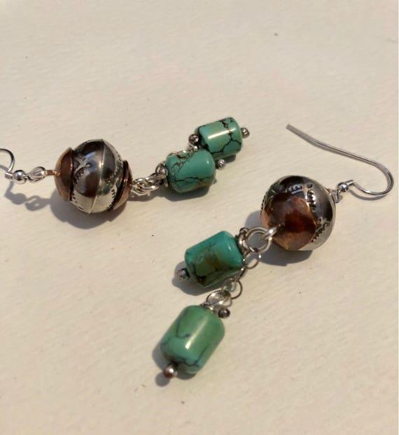 Handmade Earrings, Southwestern Jewelry, Boho, OOAK, Blue Green Turquoise Earrings, Freshwater Pearl, Baroque Pearls, Dangle Earrings