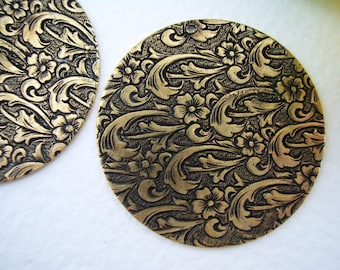 Embossed Floral DISKS 34mm Antique  Brass TRINITY BRASS (1p)