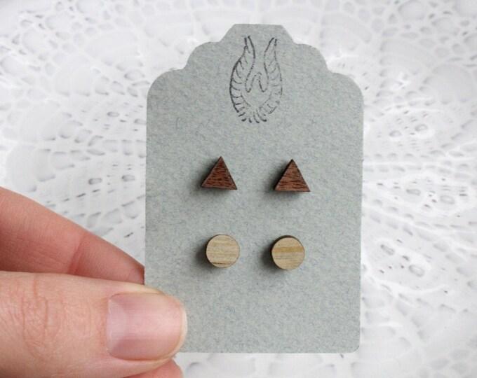 Triangle & Round Wood Stud Earring Set