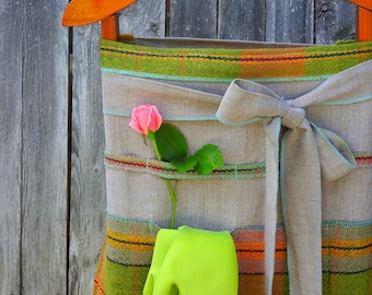 Green Plaid Linen Garden Apron with Pockets