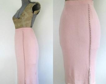 Pink Pencil Sweater Skirt Below Knee Bodycon