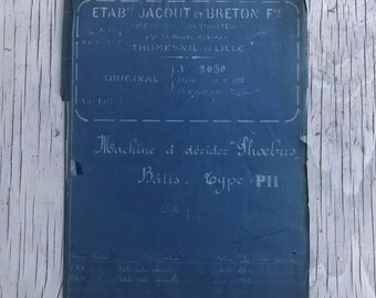 French industrial engineering blueprint, no. 2030 circa 1930s. Wonderful dark teal colour. Size: 780 x 470 mm.