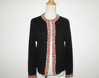 Vintage 1950s 1960s Black Beaded Sweater / 50s 60s Black Beaded Cardigan Sweater With Orange & Turquoise Accents - Size M