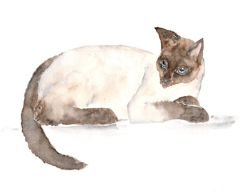 Watercolor cat painting, cat art, cat print, watercolor painting, siamese cat painting, cream, watercolor animals, siamese cat,  - 10X8