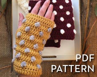 Wrist warmer pattern - Bobble Stitch Wrist Warmers - Fingerless Gloves