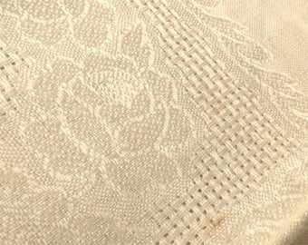 Linen Tablecloth Damask Tea Cloth from Czechoslovakia 52 Inches Vintage Table Linens