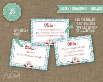 EDITABLE INSTANT DOWNLOAD Printable Elf Notes and Certificates