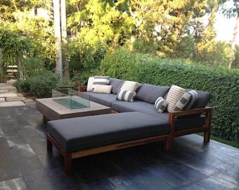 Exterior Teak Sectional with Outdoor Belgian Linen Cushions