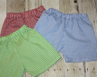 Boys Gingham Shorts for Baby Boy, toddler, and Boys Gingham Shorts size 3m, 6m, 9m, 12m,18m, 24m, 2t, 3t, 4t, 5t,6, 7, 8