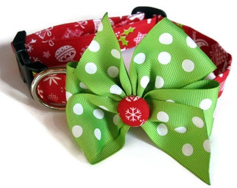 Red and Green Christmas Dog Collar size Medium