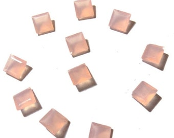 40% Sale -- Pink Chalcedony , 9 mm Size, Cut stone, Square Shape, 11 pcs.