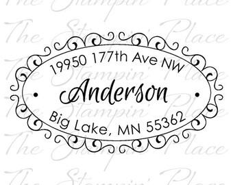 Custom Address Stamp - Scroll Oval Address PR455