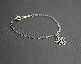 Yoga bracelet, Silver Lotus Flower Bracelet, Lotus Bracelet, Yoga Jewelry, Wish Bracelet, Bridesmaids Jewelry, Gift for Her
