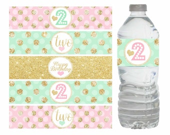Pink Mint and Gold Water bottle labels, Pink Mint and gold decorations, 2nd Birthday Water bottle labels, Digital File.