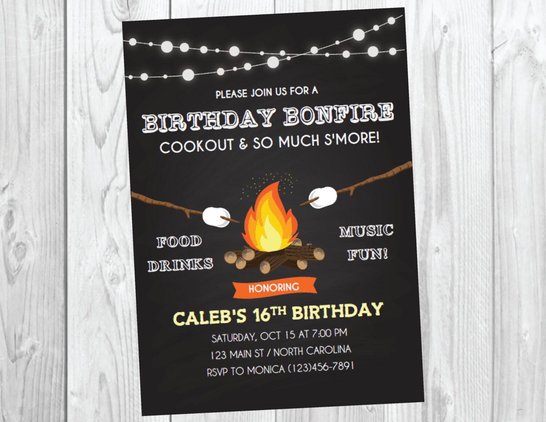 Bonfire Party Invitation / Bonfire Birthday / Fall Birthday