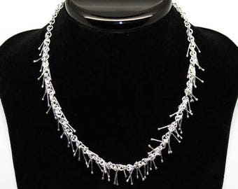 Sterling Silver Icicle Necklace - Handmade Sterling Silver Jewellery- Silver Necklace - Sterling Silver Jewellery - 925 Silver (MN2)