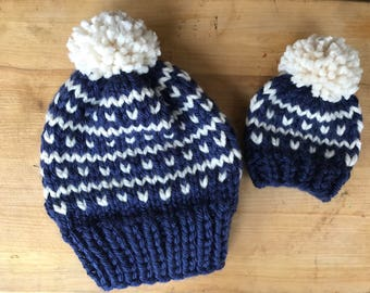 Mommy and Me knit Hat Set / adult beanie / newborn hat / child winter hat/ toddler knit hat