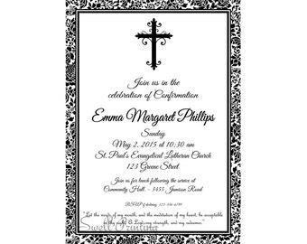 Damask Confirmation Invitation Confirmation Invitation Confirmation Party Invitation