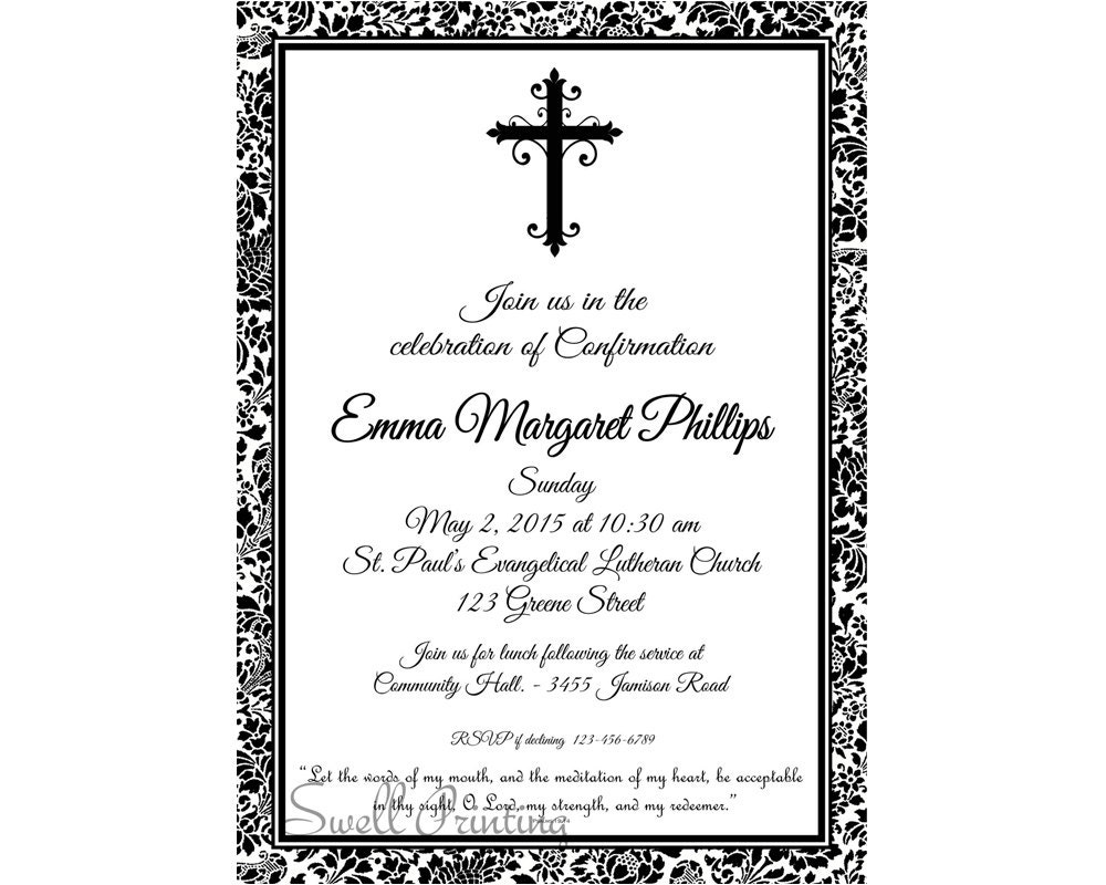 Relatively Damask Confirmation Invitation Confirmation Invitation PO04