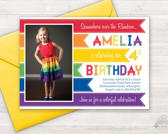 Rainbow Invitation, Rainbow Birthday Party Invitation, Rainbow Photo Invite, Rainbow Party Invitation, Somewhere Over the Rainbow, Printable