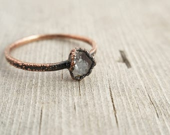 Tiny Geode and Copper Electroformed Ring | Size 6