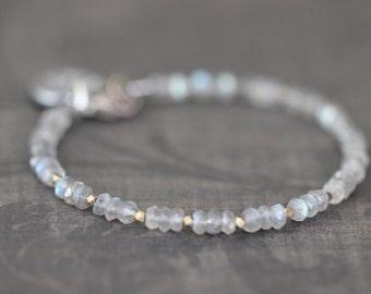 Labradorite Bracelet, 4mm, Dainty, Delicate, Gold, Silver, Flashy Blue, Gemstone Bracelet, Beaded, Sterling Silver, Charm, Layering