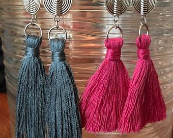 Lightweight Silver Swirl Bead & Cotton Tassel Earrings