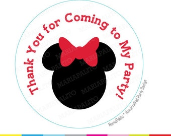 Minnie Mouse Stickers, Thank you for coming to my party PRINTED round Stickers, tags, Labels or Envelope Seals A1203