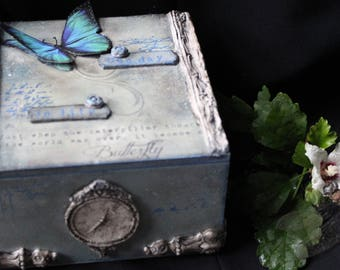 Butterfly, Lifetime, Poetry, Mystery, Timeless, Romance, Poem, Sadness, Sorrow,  Time, Gift for Her, Home decor, Jewelry box