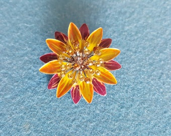 Vintage Purple, Yellow, Green & Orange Flower Rhinestone Brooch Pin