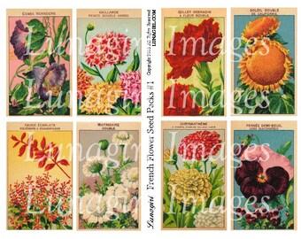 FRENCH FLOWERS seed packs digital collage sheet, Vintage Images floral art, shabby cottage garden Victorian altered paper, ephemera DOWNLOAD