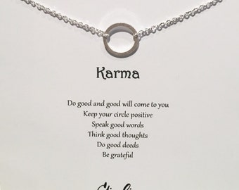 Karma necklace Open Circle Necklace circle necklace - Simple Dainty Necklace Delicate Chain Circle Outline Ring Link circle necklace