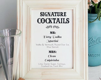 PRINTABLE & CUSTOMIZABLE Cocktail sign - His And Hers Cocktails - Bar Sign - Signature Cocktail