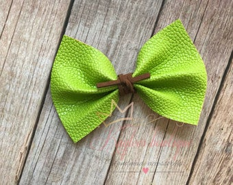 Green faux leather bow