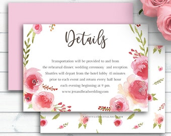 Blush Wedding Details Card, Customized Printable Enclosure Card, Wedding Insert Cards, Information Card, Personalized Wedding Cards