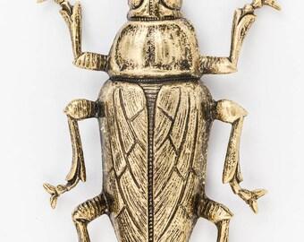 57mm x 40mm Antique Gold Beetle #ZWS014