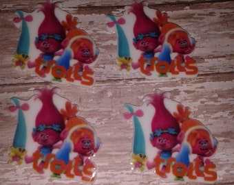 New- Trolls #2  Resin Bow Centers - set of 4
