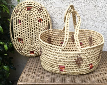 Vintage Moses Basket | Woven Lidded Basket | Newborn Photography Prop Nursery Decor | Large  Craft Knitting Storage