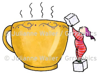 People with Food:  Coffee or Tea digital printable clipart